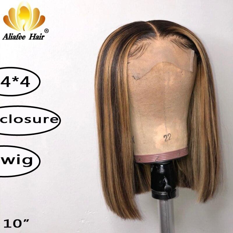 Aliafee Brown Wig Short Lace Closure Human Hair Wigs For Black Women 4x4 Short Bob Wigs Malaysia Straight 150% Remy Hair Wigs